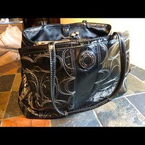 Coach Large Black Patent Bag